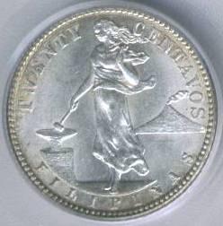 Филиппины редкая монета 10 сентаво 1910